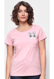 Camiseta Top Moda C/ Bolso Bordada Manga Curta Feminina - Feminino-Rosa