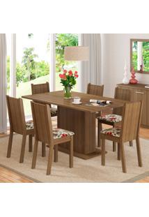 Conjunto Sala De Jantar Madesa Megan Mesa Tampo De Madeira Com 6 Cadeiras Marrom - Tricae