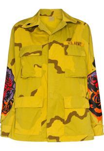 R13 Jaqueta Militar Com Estampa - Amarelo