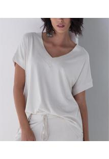 Camiseta Liz Easywear Manga Curta Feminina - Feminino-Areia
