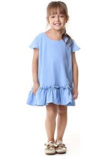 Vestido Doce Magia Crepe Azul