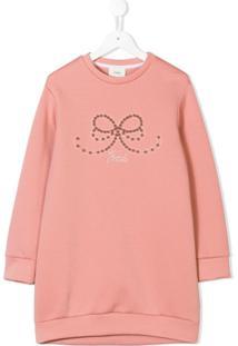 Fendi Kids Vestido Suéter Com Logo - Rosa