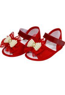 Sandália Rendas E Pérolas Sapatinhos Baby Vermelha