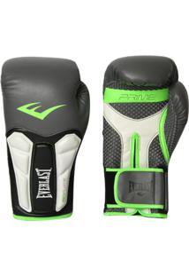 Luva Boxe Elite Prime Everlast Preta Com Verde - Unissex
