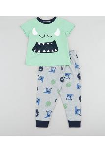Pijama Infantil Monstrinho Manga Curta Verde