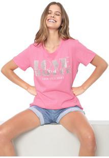 Camiseta Coca-Cola Jeans Lettering Rosa