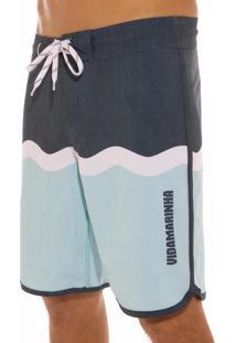 Bermuda Vida Marinha Surf Azul-Marinho/Branco/Azul - Kanui