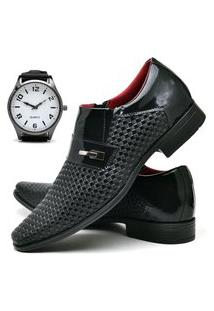 Sapato Social Masculino Db Now Com Relógio New Dubuy 831Od Preto
