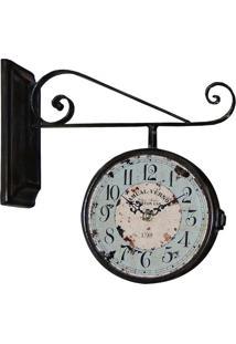 Relógio De Parede Estação Samual Blue Azul Oldway