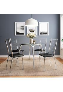 Conjunto De Mesa Com 4 Cadeiras Para Sala De Jantar Betina-Carraro Móveis - Incolor / Cromado / Preto
