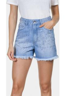 Shorts Jeans Califórnia Com Strass Jeans - Lez A Lez