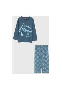Pijama Tricae Longo Infantil Dinossauro Azul