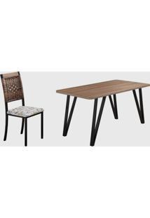 Conjunto 6 Cadeiras E Tampo Turin Preto Fosco Madmelos - Bege - Dafiti