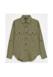 Camisa Manga Longa Lisa Com Botões Tartaruga E Bolsos | Marfinno | Verde | G