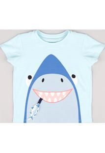 Camiseta Infantil Com Estampa Interativa De Tubarão Manga Curta Verde Água