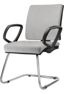 Cadeira Simple Com Braco Fixo Assento Courino Cinza Claro Base Fixa Cromada - 54974 - Sun House