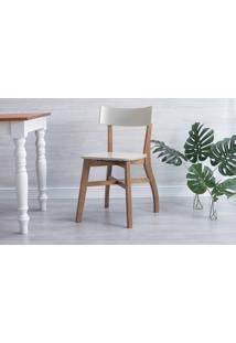 Cadeira Para Escrivaninha Bella - Amêndoa E Off White 44X51X82 Cm