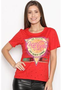 """Camiseta """"Always Fresh""""- Vermelha & Amarela- Coca-Cococa-Cola"""