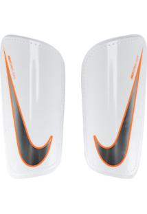 Caneleira De Futebol Nike Hard Shell Slip - Adulto - Branco/Laranja