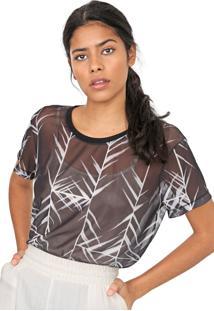 Camiseta Forum Tule Folhagem Preta