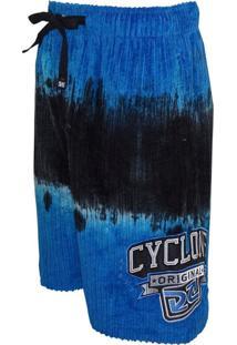 Bermuda Veludo Cyclone Tie Dye Hawks Azul