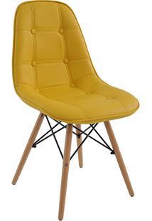 Cadeira Eiffel Sem Braço Botone Poliuretano Amarelo - Rivatti