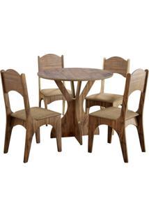 Mesa Tm11 Com 4 Cadeiras Chenille Marrom