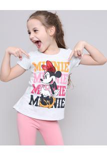 Blusa Infantil Minnie Com Paetê Manga Curta Cinza Mescla Claro