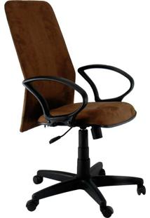 Cadeira De Escritório Diretor Absolut Suede Preto E Marrom