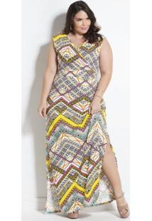 Vestido Longo Geométrico Plus Size Marguerite
