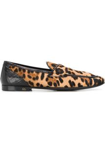 Dolce & Gabbana Slipper Com Estampa De Leopardo - Marrom