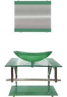 Gabinete De Vidro 60Cm Para Banheiro Sérvia Verde Ekasa