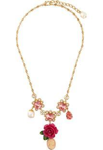 Dolce & Gabbana Colar Com Cristais E Rosas - Metálico