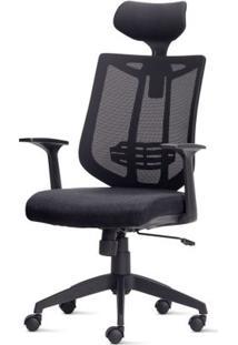 Cadeira Aika Diretor Com Encosto De Cabeca Assento Crepe Preto Base Piramidal Em Nylon - 54793 Sun House
