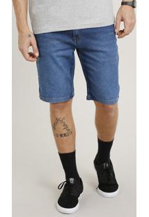 Bermuda Jeans Masculina Slim Azul Médio
