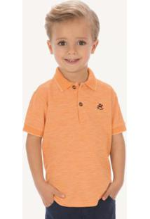 Camisa Polo Em Piquet Laranja Infantil Up Baby