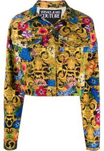 Versace Jeans Couture Jaqueta Jeans Com Estampa Barroca Tropical - Dourado