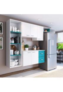 Cozinha Compacta 4 Peças 5 Portas Anabela Siena Móveis Branco/Azul