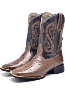 Bota Texana Masculina Bordada Cano Alto Conforto Dia A Dia - Masculino-Marrom+Preto