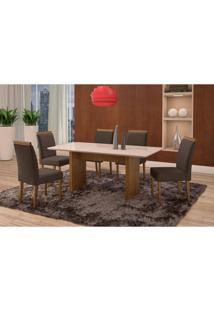 Conjunto De Mesa De Jantar Com 6 Cadeiras E Tampo De Madeira Maciça Milão Reta I Suede Grafite E Off White