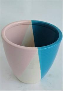 Vaso De Cerâmica Azul Petróleo/Branco/Rosa Med