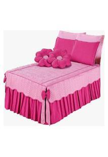 Colcha Mariana Flor Casal Queen 7 Peças Pink
