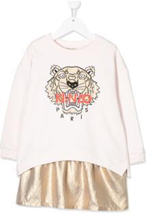 Kenzo Kids Vestido De Moletom Com Recortes - Rosa