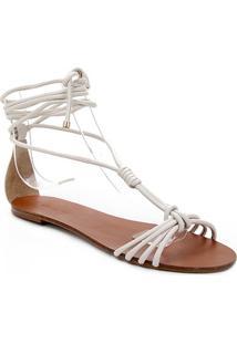 Rasteira Couro Shoestock Charm Tiras Com Amarração - Feminino-Off White