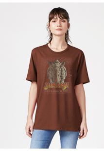 Camiseta Hering Manga Curta Estampada Jumanji Marrom - Marrom - Feminino - Dafiti