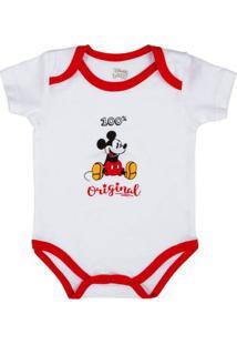 Body Manga Curta - 100% Algodão - Disney - Mickey Mouse Natal - Disney - Gg