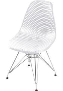 Cadeira Eames Furadinha Cor Branco Com Base Cromada - 54701 - Sun House