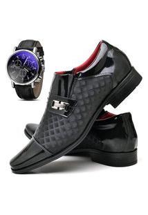 Sapato Social Masculino Asgard Com Relógio Db 829Lbm Preto