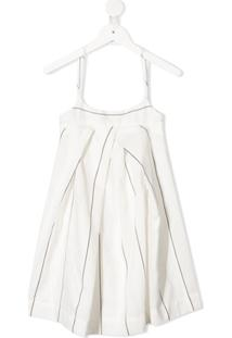 Anja Schwerbrock Vestido Evasê Com Estampa De Listras - Branco