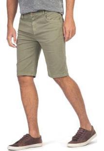 Bermuda Jeans Tinturada Militar Taco Masculina - Masculino-Verde